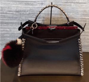 Fendi Black/Rock Calfskin/Elaphe Fashion Show Peekaboo Bag
