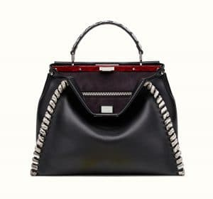 Fendi Black/Rock Calfskin/Elaphe Fashion Show Peekaboo Large Bag