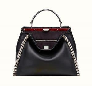 Fendi Black/Rock Calfskin/Elaphe Fashion Show Peekaboo Large Bag