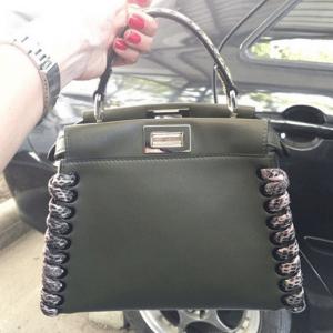 Fendi Black/Rock Calfskin/Elaphe Fashion Show Peekaboo Mini Bag