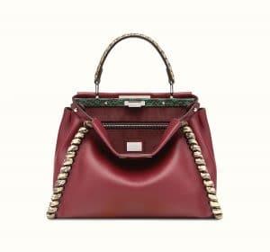 Fendi Fendi Burgundy/Beige Calfskin/Elaphe Fashion Show Peekaboo Bag/Beige Calfskin:Elaphe Fashion Show Peekaboo Bag