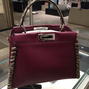 Fendi Burgundy/Beige Calfskin/Elaphe Fashion Show Peekaboo Mini Bag