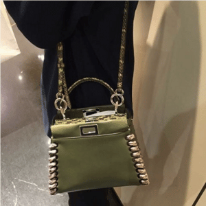 Fendi Olive Green/Beige Calfskin/Elaphe Fashion Show Peekaboo Mini Bag
