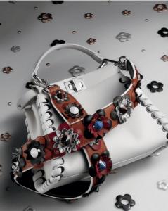 Fendi White Fashion Show Peekaboo Mini Bag with Floral Embellished Strap You
