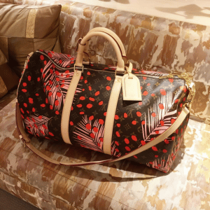 Louis Vuitton Palm Sugar Pin/Coquelicot Monogram Jungle Keepall Bandouliere Bag
