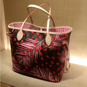 Louis Vuitton Palm Sugar Pin/Coquelicot Monogram Jungle Neverfull Bag