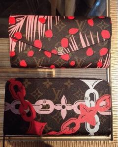 Louis Vuitton Palm Sugar Pin/Coquelicot Monogram Palm Dots Sarah Wallet and Monogram Bay Zippy Wallet