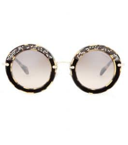 Miu Miu Embellished Round Sunglasses 1