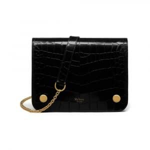 Mulberry Black Polished Embossed Croc Clifton Bag