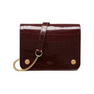 Mulberry Burgundy Polished Embossed Croc Clifton Bag