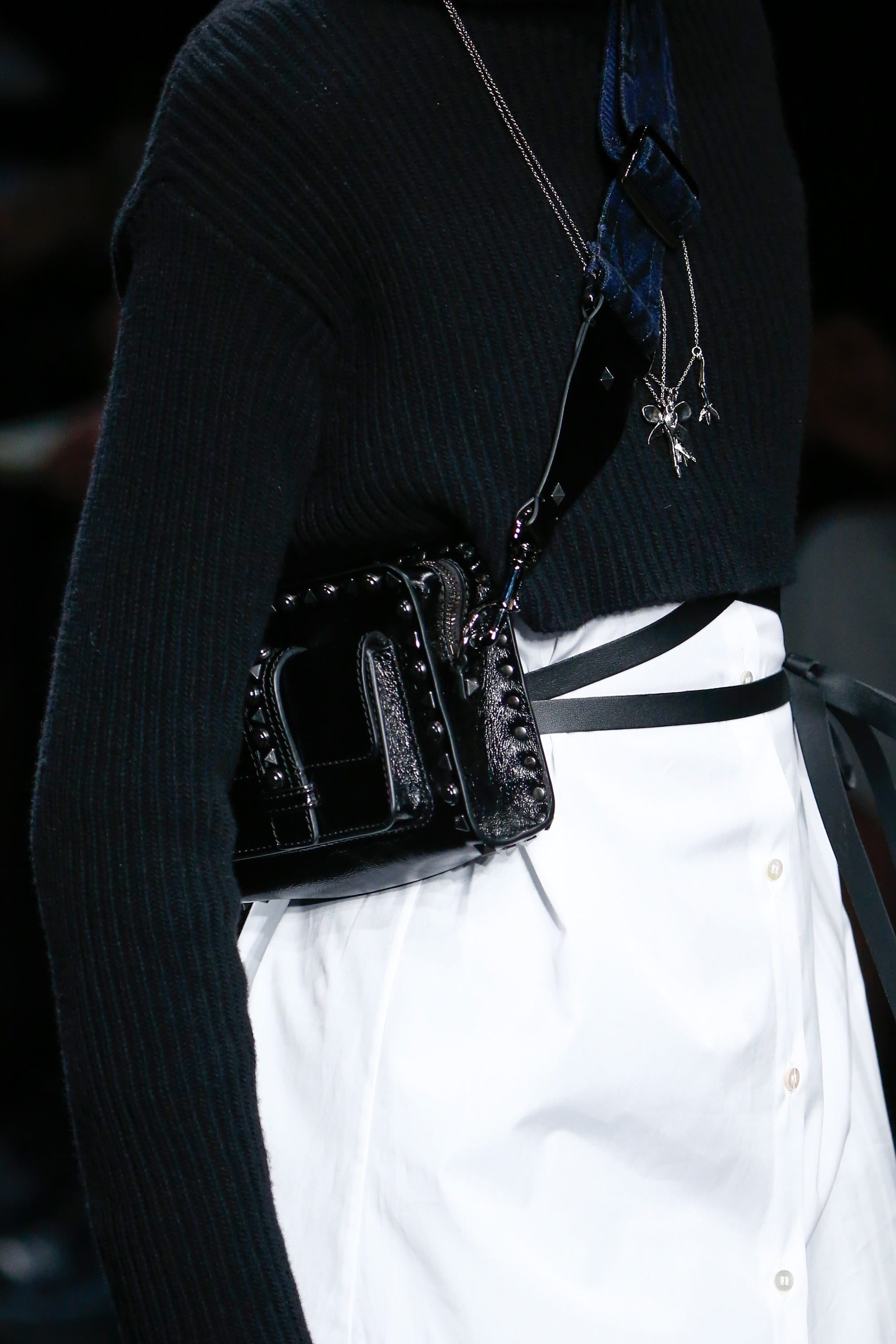 Valentino Black Rockstud Camera Bag 2 - Fall 2016