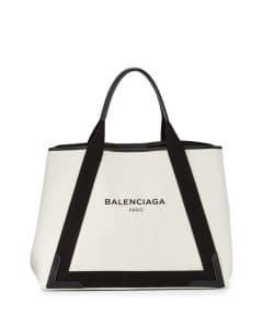 Balenciaga Black/Natural Navy Cabas M Bag