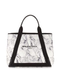 Balenciaga Black/White Marble Navy Cabas M Bag