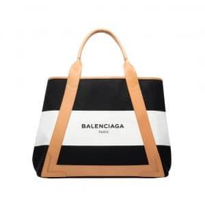 Balenciaga Black/White/Natural Navy Striped Cabas M Bag