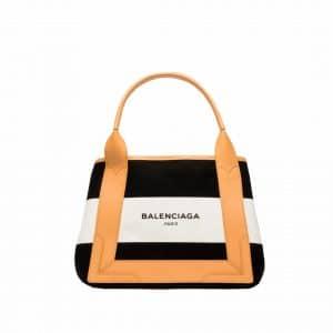 Balenciaga Black/White/Natural Navy Striped Cabas S Bag