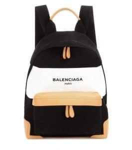 Balenciaga Black/White/Natural Navy Striped Canvas Backpack Bag