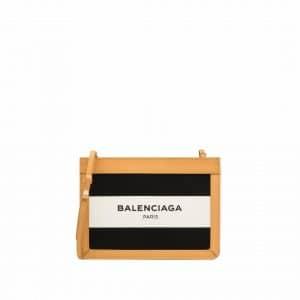 Balenciaga Black/White/Natural Navy Striped Canvas Pochette S Bag