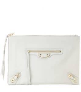 Balenciaga Gris Clace Metallic Edge Flat Zip Pouch Bag
