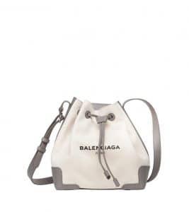 Balenciaga Gris Taupe/Natural Navy Bucket Bag