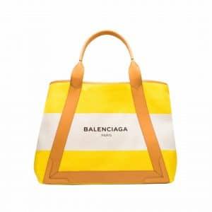 Balenciaga Jaune Citrus Navy Striped Cabas M Bag