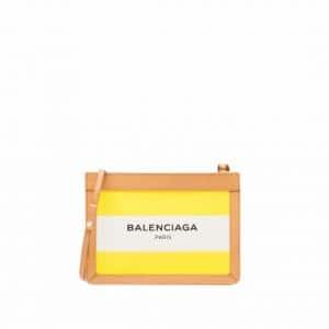 Balenciaga Jaune Citrus Navy Striped Canvas Pochette S Bag