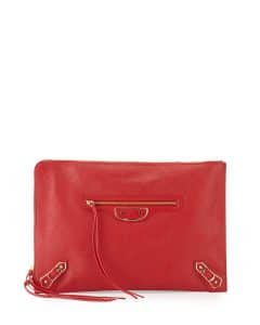 Balenciaga Red Metallic Edge Flat Zip Pouch Bag