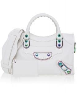 Balenciaga White Classic Metallic Edge Iridescent Mini City Bag
