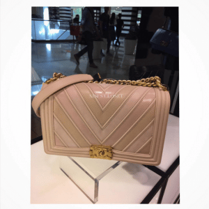 Chanel Beige Boy Chevron New Medium Flap Bag