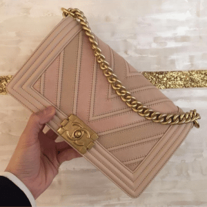 Chanel Beige Boy Chevron Old Medium Flap Bag 2