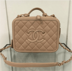 Chanel Beige CC Filigree Vanity Case Small Bag