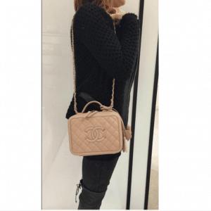 Chanel Beige CC Filigree Vanity Case Small Bag 5