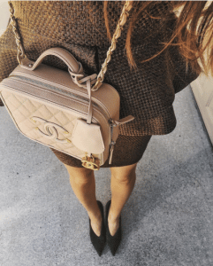 Chanel Beige CC Filigree Vanity Case Small Bag 6