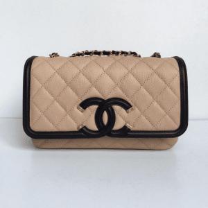 Chanel Beige/Black CC Filigree Flap Bag 2