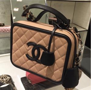 Chanel Beige/Black CC Filigree Vanity Case Small Bag 3