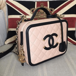 Chanel Beige/Black CC Filigree Vanity Case Small Bag