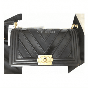 Chanel Black Boy Chevron Old Medium Flap Bag