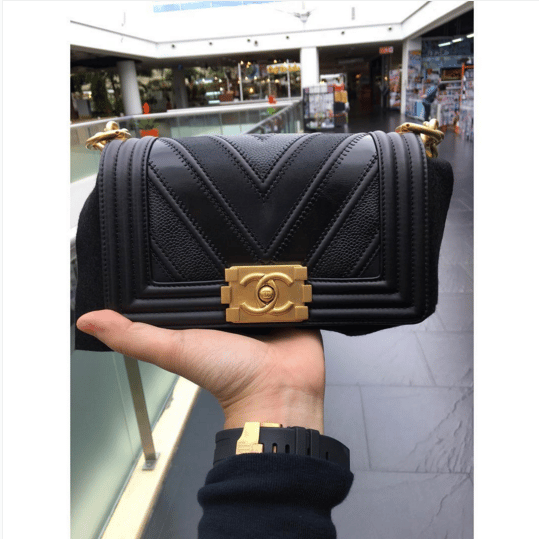 53529e1b243969 Chanel Boy Chevron Mix Leather Flap Bag From Spring/Summer 2016 ...