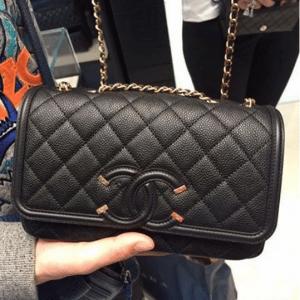 Chanel Black CC Filigree Flap Bag 2