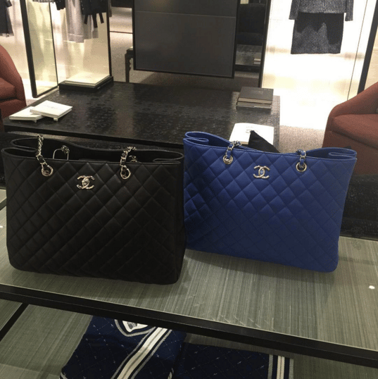 31b362d1a513 Chanel Black and Blue Timeles Classic Tote Bags. IG: little_miss_clicclac