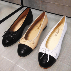 Chanel Black/Beige/White Ballerina Flats
