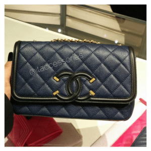 Chanel Black/Blue CC Filigree Flap Bag