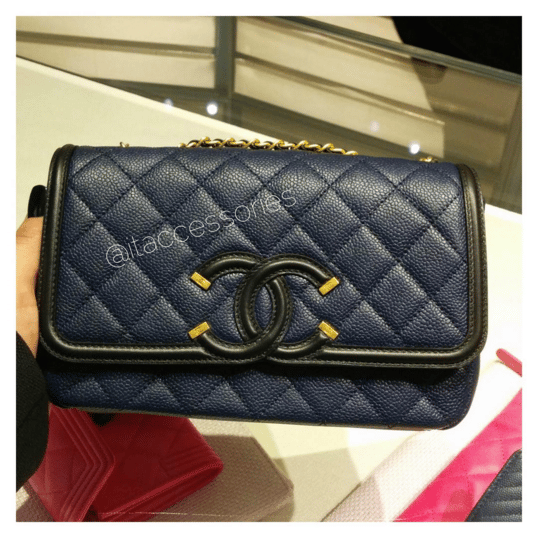 546633a4b5ad Chanel Black/Blue CC Filigree Flap Bag. IG: itaccessories