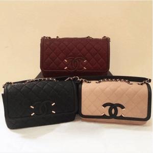 Chanel Black/Burgundy/Beige CC Filigree Flap Bags