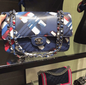 Chanel Blue Printed Flap Bag