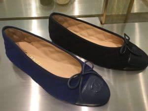 Chanel Blue/Black Suede/Calfskin Ballerina Flats