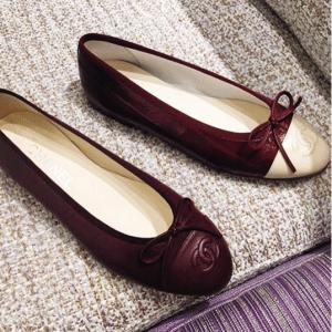 Chanel Burgundy Ballerina Flats