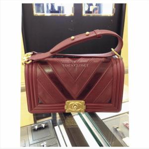 Chanel Burgundy Boy Chevron Old Medium Flap Bag 2