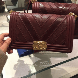 Chanel Burgundy Boy Chevron Old Medium Flap Bag