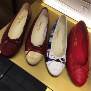 Chanel Burgundy/Multicolor/Red Ballerina Flats