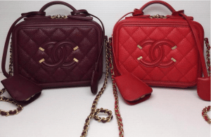 Chanel Burgundy/Red CC Filigree Vanity Case Small Bags